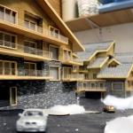 maqueta de casas madera y piedra