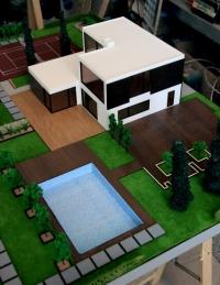 Maqueta de casa con jardin