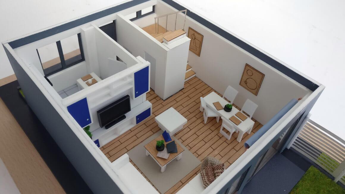 Maqueta casa desmontable con muebles maquetas arquitectura - Casas de muebles ...