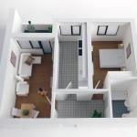 maqueta Apartamento de dos habitaciones