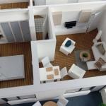 maqueta Apartamento de tres habitaciones