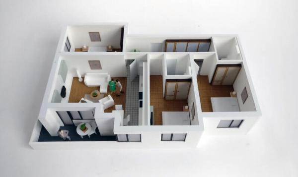 maqueta de Apartamento con muebles