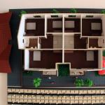 Maqueta de casa con techos desmontables